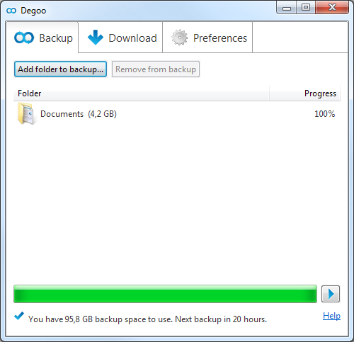 Click to view Degoo 100 GB Free Cloud Backup screenshots