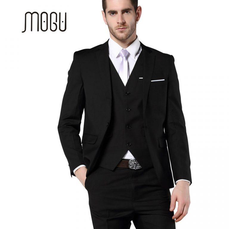 MOGU Mens 3 Piece Suit ( Jacket +Vest+Pants) Slim Fit Black Suit ...