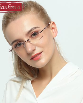 9ad876eb6207 Chashma Brand Titanium Fashion Lady Eye Glasses Diamonds Rimless Spectacle  Frames Women Tint Lenses Glasses for Female
