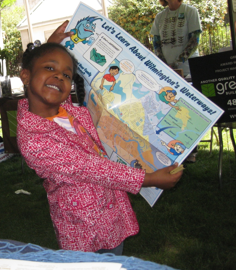 Child with poster