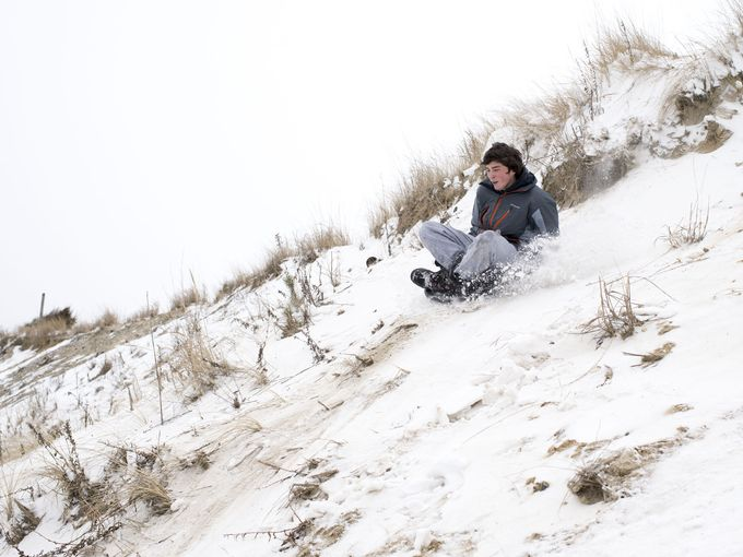 dune sledding, delaware, sussex county, its gonna snow, chsp, fort miles, great dune,