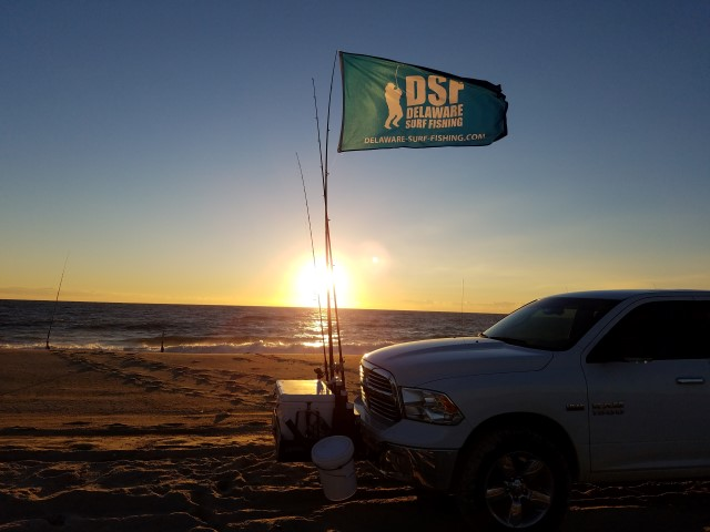 dawn patrol, delaware, sussex county, beaches, sunrise, ocean, delaware surf fishing flag,