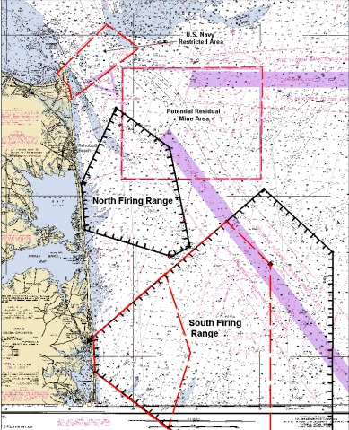 residual mines in delaware, south firing range, north firing range, map of seafloor, atlantic coast, delaware, delmarva, cape henlopen state park, national guard, bethany beach, army corp of engineers