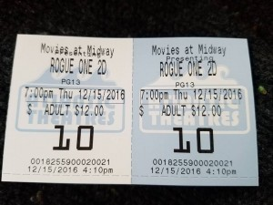 rogue one, midway theaters, delaware, sussex county, route 1, may the force be with you , I am with the Force and the Force is with me,