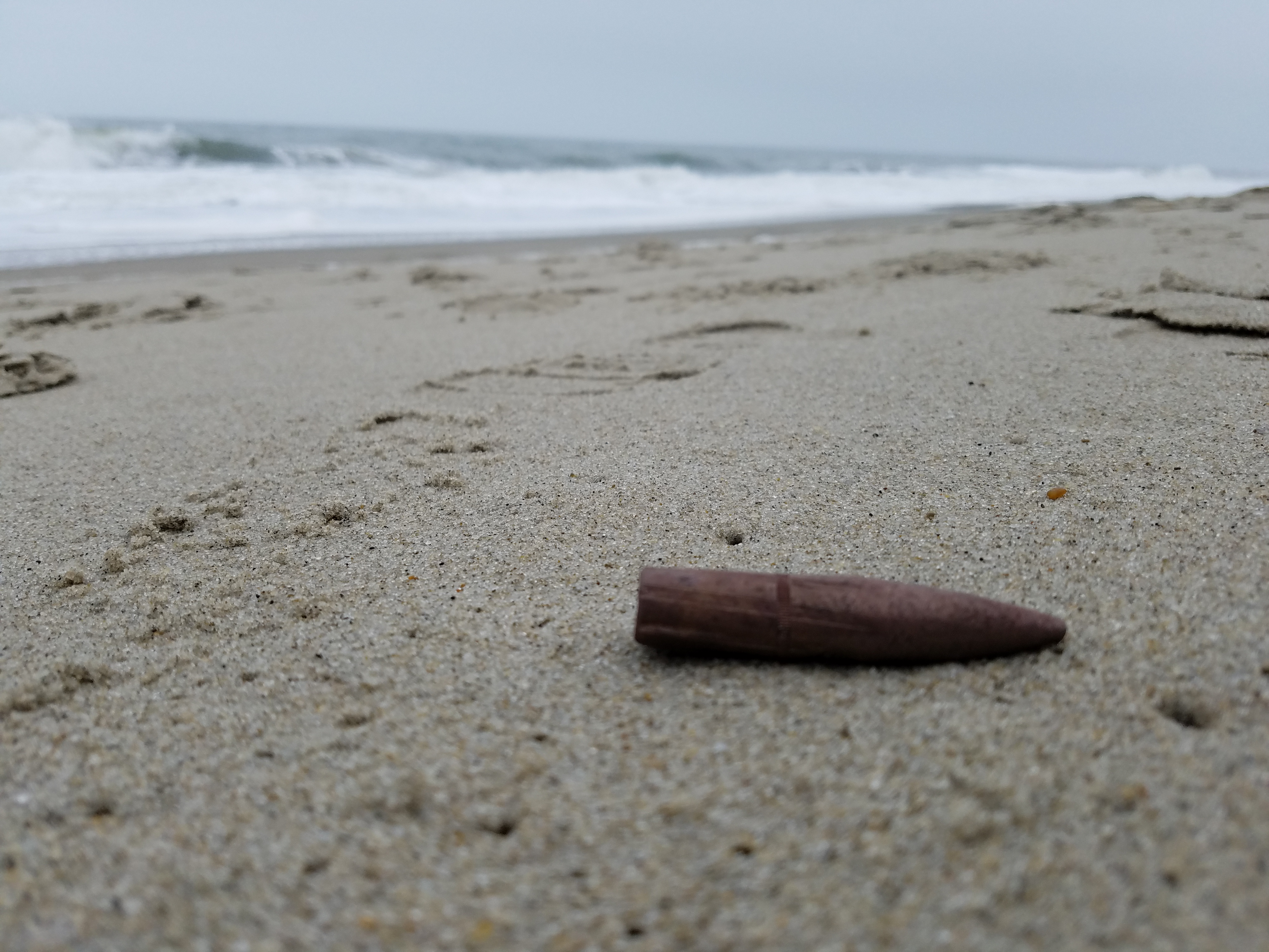 50 caliber bullet on rehoboth beach, delaware, sussex county, beach combing,