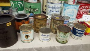 Collectible oyster cans, antiques, delaware, sussex county, kent county, milford, collectible and memorabilia show,