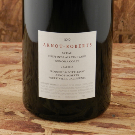 Arnot-Roberts Griffin's Lair Vineyard Syrah 2010 (1500ml)