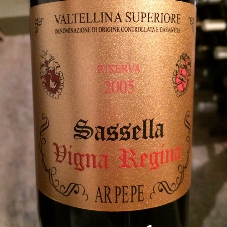 ARPEPE Riserva Vigna Regina Sassella Valtellina Superiore Nebbiolo 2005