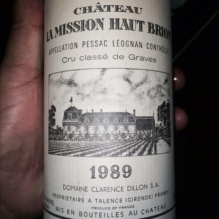 Château La Mission Haut-Brion Pessac-Léognan Red Bordeaux Blend 1989