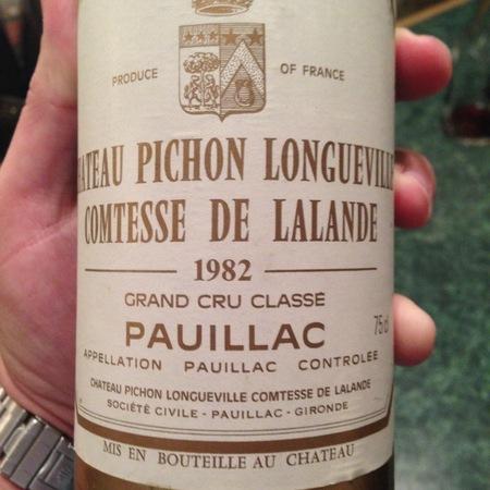 Château Pichon Longueville Comtesse de Lalande Pauillac Red Bordeaux Blend 1982
