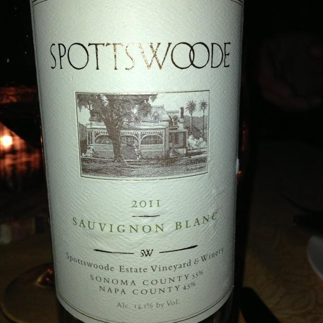 Spottswoode Napa County Sonoma County Sauvignon Blanc 2011