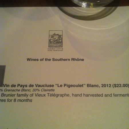 H. Brunier & Fils Le Pigeoulet en Provence Blanc Vin de Pays de Vaucluse  2015