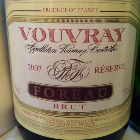 Foreau (Domaine du Clos Naudin ) Réserve Brut Vouvray Chenin Blanc 2005