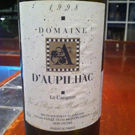 Domaine d'Aupilhac Vin de Pays du Mont Baudile Le Carignan 1998