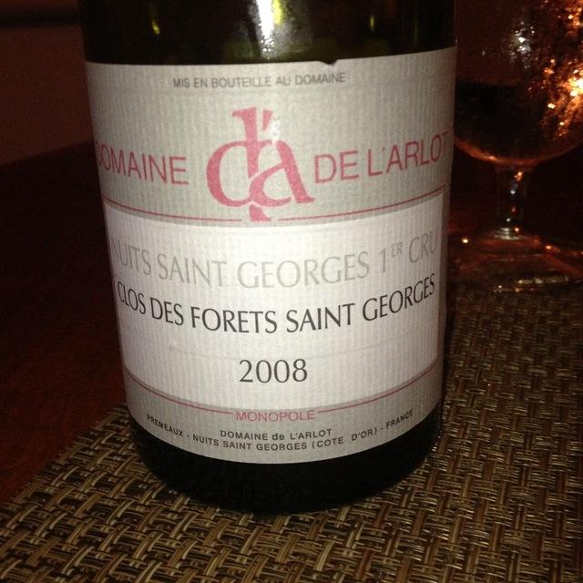 Domaine de L'Arlot Clos des Forêts St. Georges Nuits St. Georges 1er Cru Pinot Noir 2008