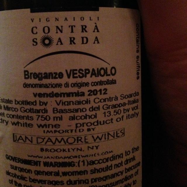 Vignaoili Contrà Soarda Breganze Vespaiolo 2016