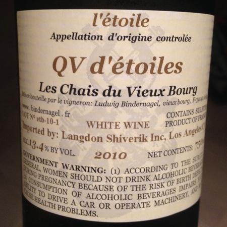 Les Chais du Vieux Bourg QV d'étoiles l'Étoile Chardonnay 2010