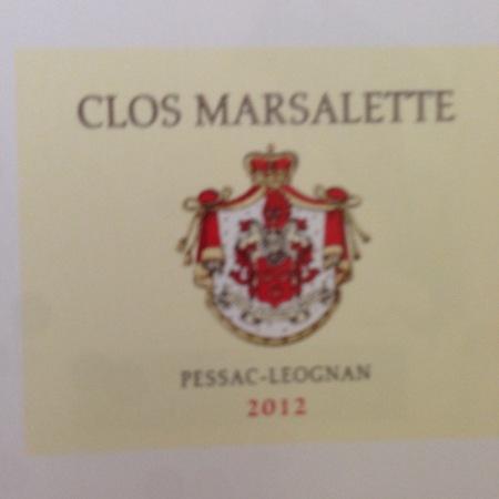 Clos Marsalette Pessac-Léognan Red Bordeaux Blend 2012
