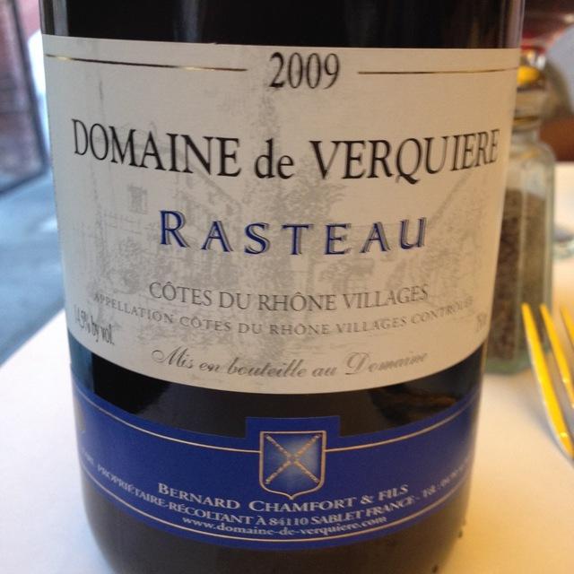 Domaine de Verquiere Côtes du Rhône Villages Rasteau 2012