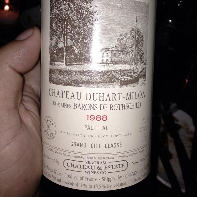 Château Duhart Milon Pauillac Red Bordeaux Blend 1988