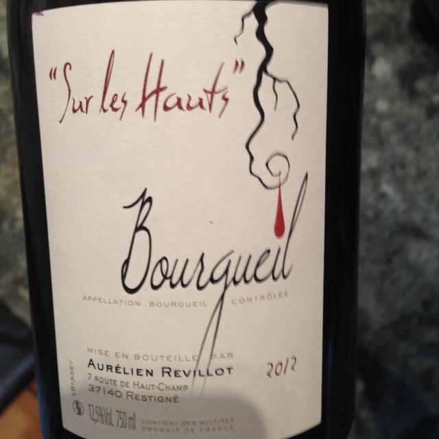 Sur les Hauts Bourgueil Cabernet Franc 2012