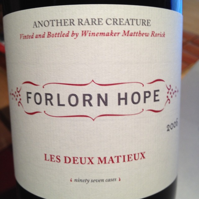 Forlorn Hope Les Deux Mathieux Tenbrink Vineyard Petite Sirah 2011