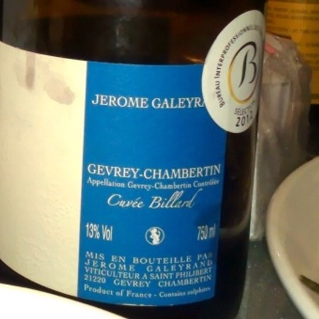 Jerome Galeyrand Billard Gevrey-Chambertin Pinot Noir 2012