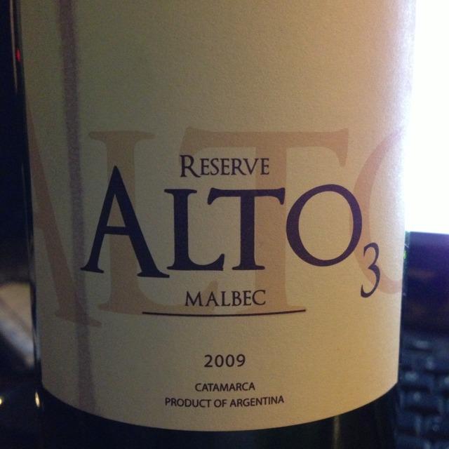 Alto 3 Reserve Malbec 2012