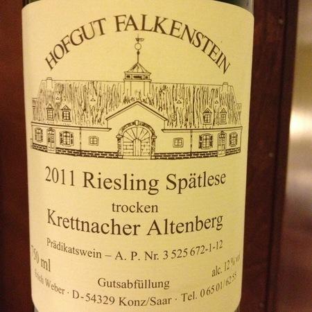 Hofgut Falkenstein Krettnacher Altenberg Spätlese Trocken Riesling 2016