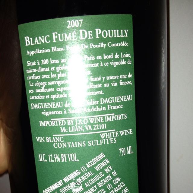 Pouilly-Fumé Sauvignon Blanc 2007