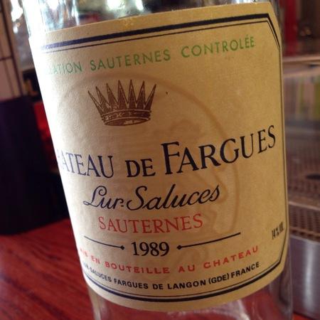 Château de Fargues Sauternes Sémillon-Sauvignon Blanc Blend 1989