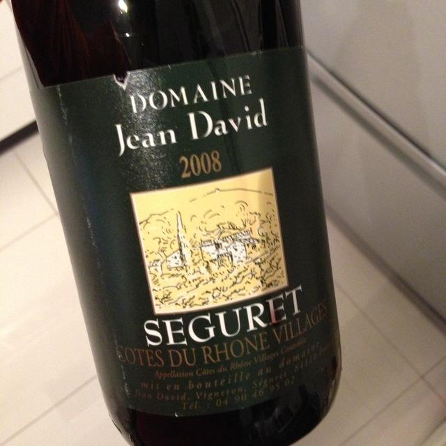 Domaine Jean David Seguret Côtes du Rhône Villages Red Rhone Blend 2013