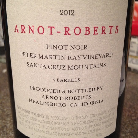 Arnot-Roberts Peter Martin Ray Vineyard Pinot Noir 2012