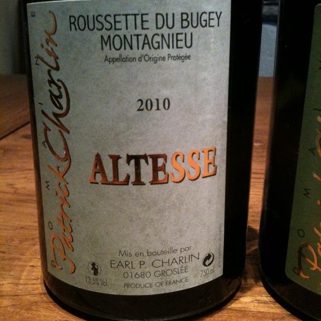 Domaine Patrick Charlin Roussette du Bugey Montagnieu Altesse 2012