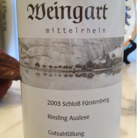 Florian Weingart Schloss Fürstenberg Gutsabfüllung Auslese Riesling 2003