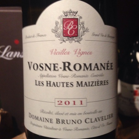 Domaine Bruno Clavelier Vieilles Vignes Les Hautes-Maizières Vosne-Romanée Pinot Noir 2011