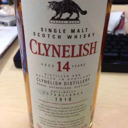 Clynelish Distillery Aged 14 Years Coastal Highland Single Malt Scotch Whisky  NV