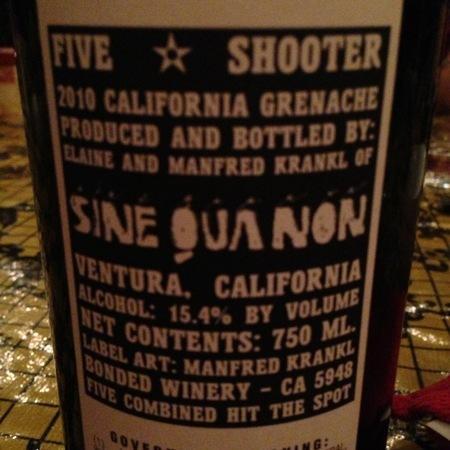 Sine Qua Non Five Shooter Grenache 2010