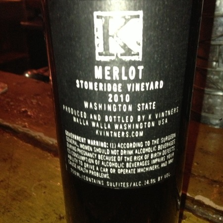 K Vintners Stoneridge Vineyard Merlot 2010