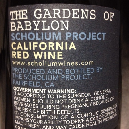 Scholium Project The Gardens of Babylon California Red Blend 2009