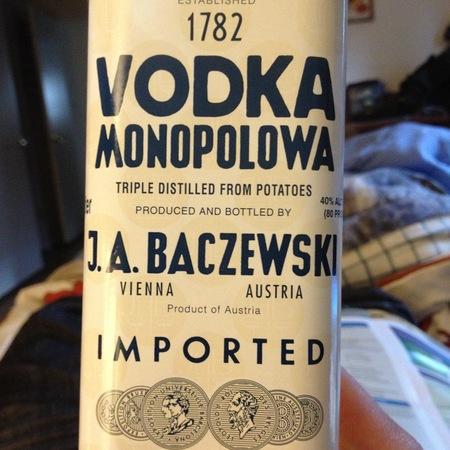J. A. Baczewski Monopolowa Potato Vodka  NV