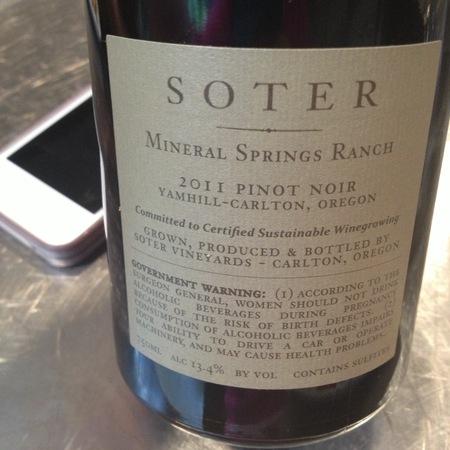 Soter Vineyards Mineral Springs Ranch Pinot Noir 2014