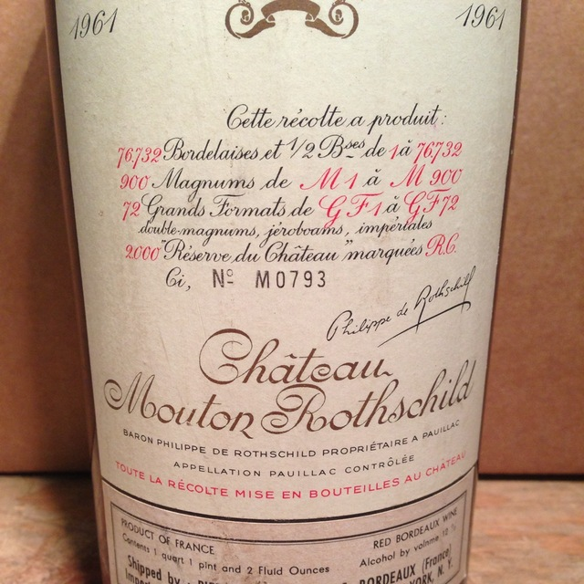 Château Mouton Rothschild Pauillac Red Bordeaux Blend 1961