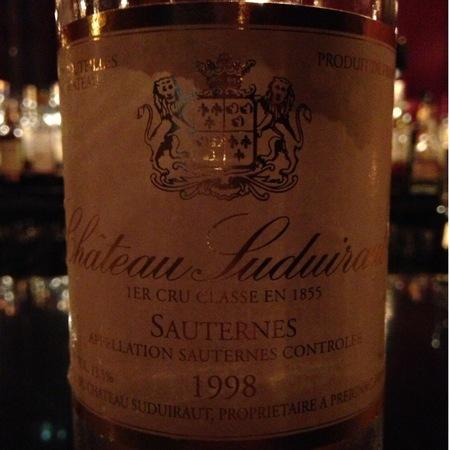 Château Suduiraut Sauternes Sémillon-Sauvignon Blanc Blend 1998 (375ml)