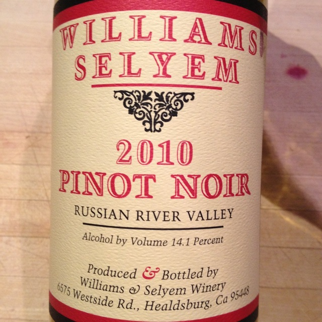 Williams Selyem Russian River Valley Pinot Noir 2010