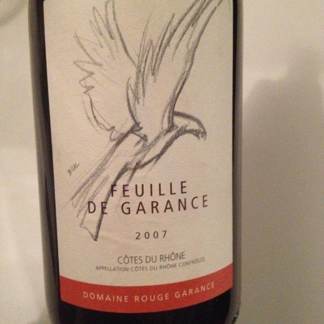 Domaine Rouge Garance Feuille de Garance Côtes du Rhône Grenache Blend 2015