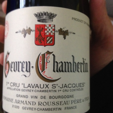 Domaine Armand Rousseau  Lavaux St. Jacques Gevrey-Chambertin 1er Cru Pinot Noir 2012