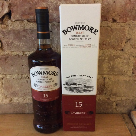 Bowmore Distillery Darkest Aged 15 Years Sherry Cask Finished Islay Single Malt Scotch Whisky NV