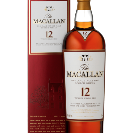 Macallan Distillery 12 Years Old Sherry Oak Casks Highland Single Malt Scotch Whisky NV