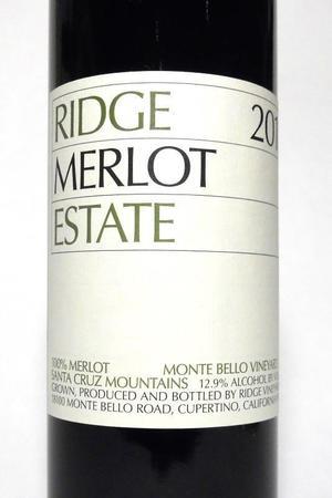 Ridge Vineyards Estate Monte Bello Vineyard Merlot 2011
